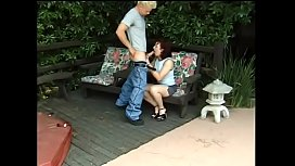 Redhead MILF Cherry Poppins with small tits rides a hard cock by the pool