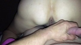 Wife with vibrator gets her pussy and asshole fingered before swallowing his load
