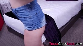 Teen babe tugging dick pov style