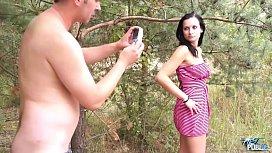 MyFi ublic Skinny brunette learn how to fuck outdoors with older stranger