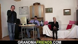 Blonde skinny granny threesome fuck