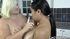 Lesbian GILF and her busty friend get messed up with food