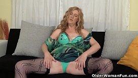 Euro milf Angelina fucks herself with fingers and dildo