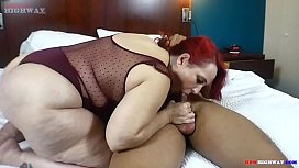 Big booty granny take young black cock in her mouth and ass