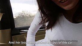 Busty teen cuttie gets stranger big cock in his car