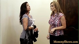 Busty stepmom and teen have a lesbo threeway