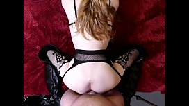 Sexy Little Petite Babe in Stockings Takes the Thick Cock of Somegirth on the Bed