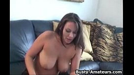 Busty amateur Leslie masturbates on her first interview