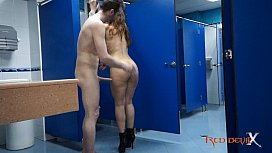 Hot brunette fucking in a public restroom Laurita Peralta