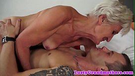 Smalltit grandma banged in her hairy pussy