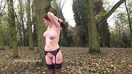 Redhead Holly Kiss flashing in public and outdoor dildo masturbation of exhibiti