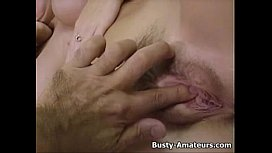 Busty chick Mary masturbates her pussy after interview