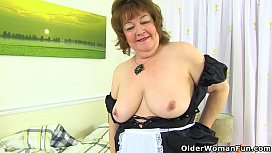 English granny Susan is up to no good in her tights