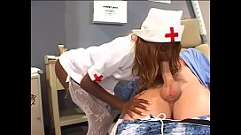 Sexy black nurse gives a first aid blowjob to a horny white dude