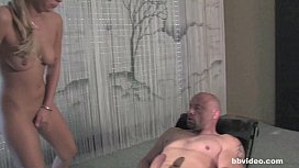 Bbvideocom Tattooed blonde babe takes two dicks