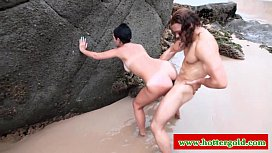 Euro latina hottie anal plowed hard on beach