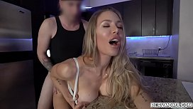Blonde sexy mom in underwear bends over for her stepson and gets a hard dick down
