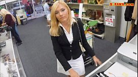 Sexy blonde milf pounded at the pa op to earn money