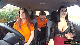 Lucia threesome during her driving test