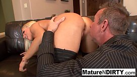 Big boobed MILF gets dicked down on the couch