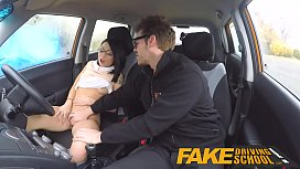 Fake Driving School wild ride for petite british Asian with glasses nonktube