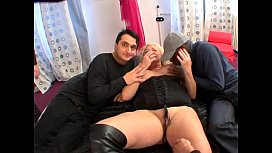 Blonde Grandma Has A Wild GangBang With Young Guys