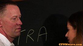 CFNM femdom wanking off teachers cock