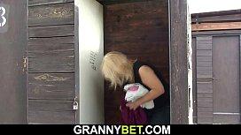 Blonde old grandma fuck on public
