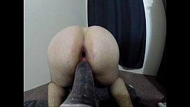 Inserting Huge anal dildo