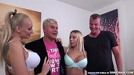 Big titted babes Kayla Gren and Kyra hot sharing a cock