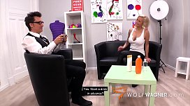 Busty Leni gets her pussy fucked during a fake body lotion test! WolfWagner.com