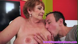 Saggy european granny cockriding young guy