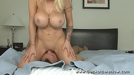 POV Cuckold 14 Candy Manson cuckolds her husband and locks him in chastity makes him watch her fuck a big cock and eat the creampies and fucks him after