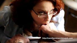 Camille Crimson Sensual Blowjob and Cumshot in Glasses
