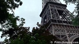 28701527: Under the Eiffel Tower in Paris France, extreme public sex risky threesome orgy