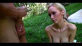 First anal fuck for blonde teen girl in garden