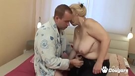 Fat Old Granny Makes A Dick Cum With Her Asshole