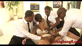 Massive tits whore DP by big black dicks on the couch