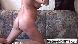 Grandma with glasses masturbates and sucks cock
