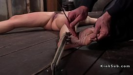 Babe tied up and spread gets torment