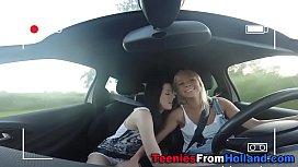 Teeny les licked on car