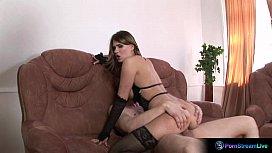 Curvy brunette Natalia gets shagged hard as fuck