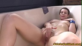 Bathing amateur australian toys her cunt