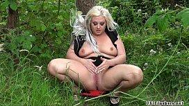 Chubby goth exhibitionist Eden in outdoor public nudity and masturbating voyeur