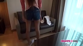 Cute Asian chick has her hairy pussy creampied