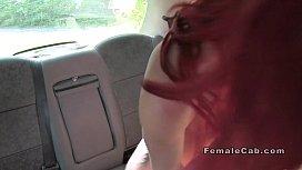 Lesbian female fake taxi drivers had oral