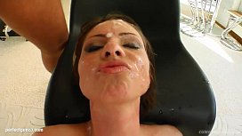 Messy facial end for Gabriella Mai on Cum For Cover from a group of guys