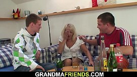 Boozed grandmother swallows two big cocks