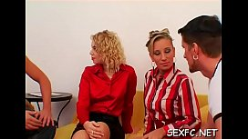 Fully clothed female works cock in the pussy like a femdom-goddess