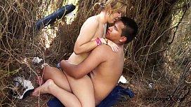 Hot teen couple fucking on the beach Jose y Merce
